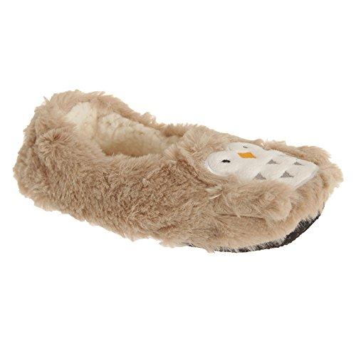 Slumberzzz Mujer / Damas Slip On Owl Fleece Slippers Beige