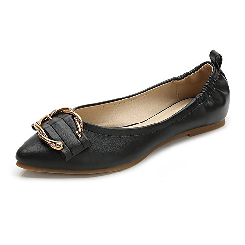 Wollanlily Womens Pointed Toe Ballet Flats Buckle Ballerina Comfortable Walking Shoes(8.5 B(M) US,Black) ()