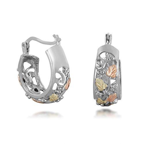 Sterling Silver Black Hills Hoop Earrings with 12K Gold Leaves from Landstroms