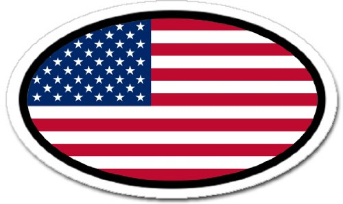 State Flag Oval Decal (United States of America USA Flag Car Bumper Sticker Decal Oval)