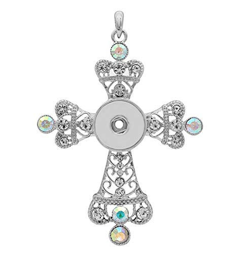 - Rockin Angels Large Silver Cross Rhinestone 20mm Snap Charm Pendant for Ginger Snaps