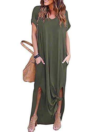 Split Dress Casual Maxi Amstt Dress Short with Loose Beach Green Sleeve Long Women's Pocket xvgzAqwg0