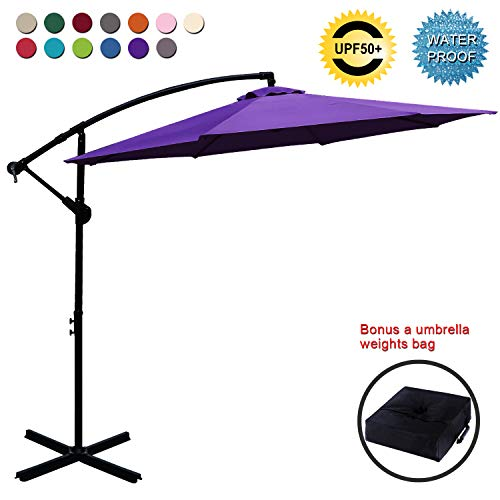ABCCANOPY Patio Umbrellas Cantilever Umbrella Offset Hanging Umbrellas 10 FT Outdoor Market Umbrella with Crank & Cross Base for Garden, Deck, Backyard, Pool and Beach, 12+ Colors, (Purple)