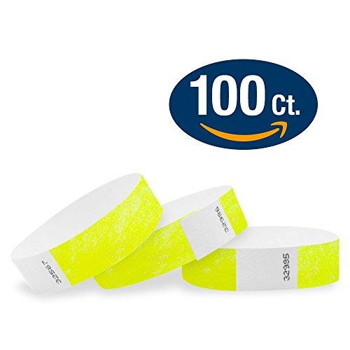 """Neon Yellow - Wristco 3/4"""" Tyvek Wristbands - 100 Pack"""