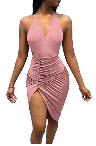 Spacco Con donne Coolred Rosa Sexy Sottile Fit Backless Lo Lato Clubwear Abito Bodycon Uxv1xq