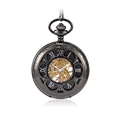 Sinopic Hand Wound Pocket Watch for Men with Vintage Silver Roman Numerals Skeleton Black Dial