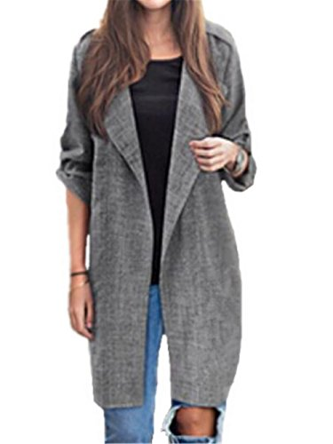 Manteau Trench Tops Manteau Asymtrique Gray Blousons Tunique Casual Manches AILIENT Cardigan Longues Femme Coat Loose Fluide gPdxFfF