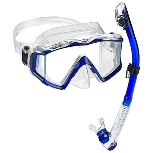 Phantom Aquatics Panoramic Scuba Mask Snorkel Set (Ultra - Blue) (Dive Valve Mask Purge)