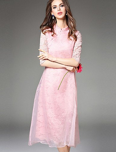 PU&PU Robe Aux femmes Trapèze Simple,Couleur Pleine Mao Mi-long Polyester , pink-s , pink-s