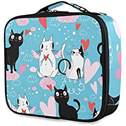 ATONO Cute Cats In Love Hearts Blue Portable Makeup Bags Professional Cosmetic Toiletry Travel Box Organizer Compartments Case Multifunction Storage Waterproof Adjustable Dividers for Girls&Women