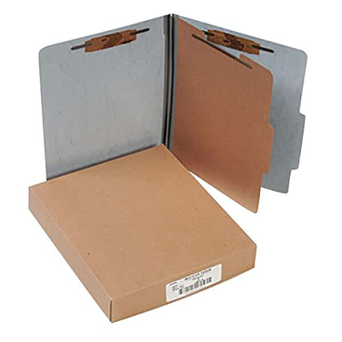 15014 8 1/2'' x 11'' Gray 4-Section Presstex Classification Folder with Prong Fasteners and 2/5 Cut Tab, Letter - 10/Box