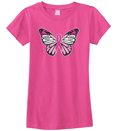Threadrock Big Girls' Breast Cancer Awareness Butterfly Fitted T-Shirt M Fuchsia