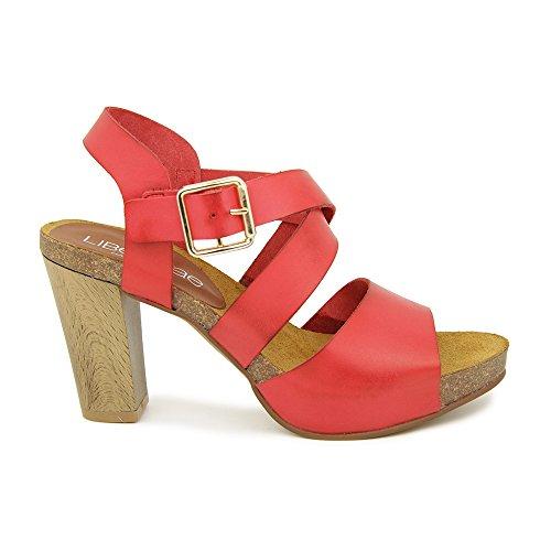 Sandalia Tacon En Piel Rojo Rojo