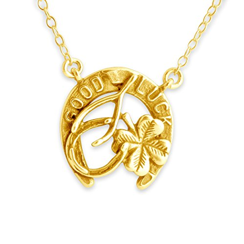Azaggi Gold Plated Sterling Silver Handcrafted Good Luck Wishbone Four Leaf Clover Pendant Necklace (20)