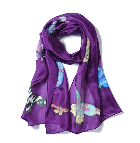 (Invisible World Women's 100% Mulberry Silk Scarf Hand Painted Butterfly)