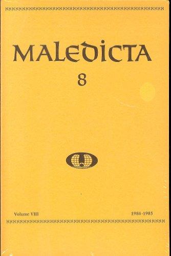 Maledicta 8 (1984-85): The International Journal of Verbal Aggression, vol. - Art Journal Verbal