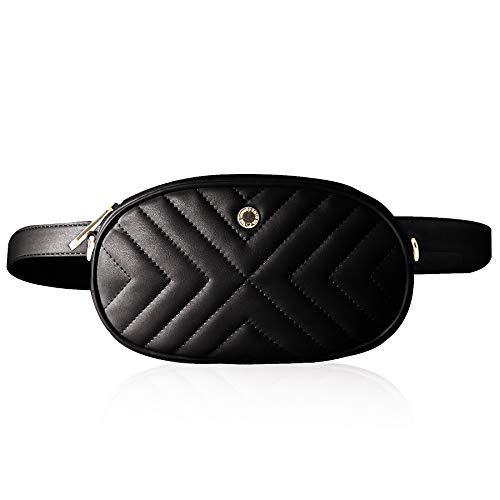 The Lovely Tote Co. Women's 2-way Fanny Pack Small Quilting Crossbody Bag (One, Black(diagonal line))