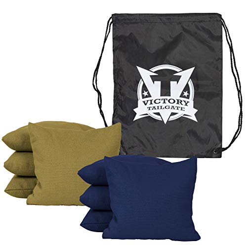 (Victory Tailgate 8 Colored Corn Filled Regulation Cornhole Bags with Drawstring Pack (4 Navy Blue, 4 Gold))