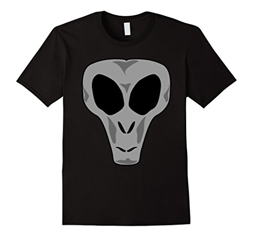 Mens Halloween Gray Alien Face Emoji Costume T-Shirt Large Black