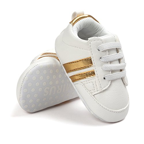 Tutoo Newborn Sneakers Baby Boys Girls PU Leather Soft Anti-Slip Toddler Shoes Infant First Walkers Shoes (Soft Leather Gold Footwear)