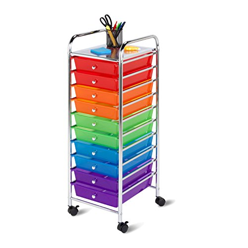 Honey-Can-Do CRT-02214 Rolling Office Organizer, 10-Drawer (Rainbow 8 Drawer Rolling Chest By Recollections)