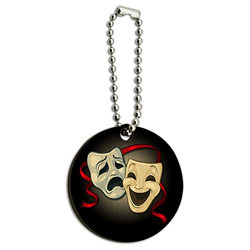Drama Comedy Tragedy Masks Theater Wood Wooden Round Key Chain