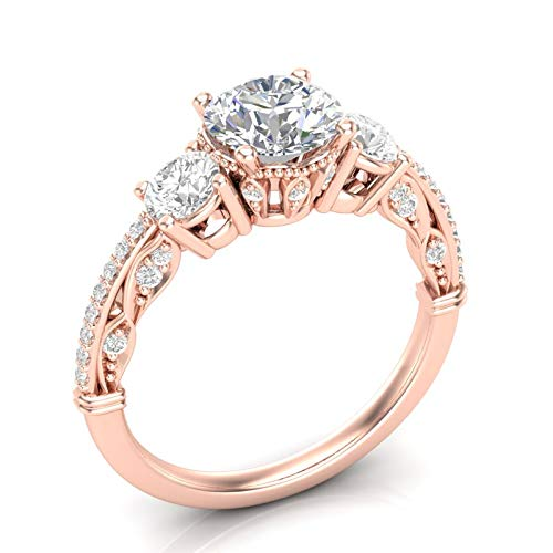 Rose Gold Vintage Three Stone Engagement Ring Unique Filigree Milgrain Art Deco Ring Round Forever One Colorless Ring Her Moissanite Ring 14K