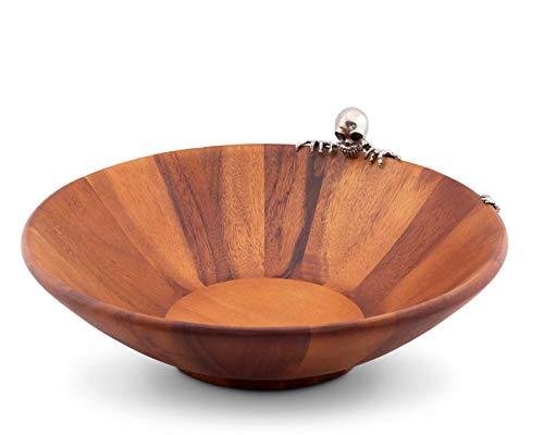 (Vagabond House Wood Salad Bowl with Pewter Skeleton 17