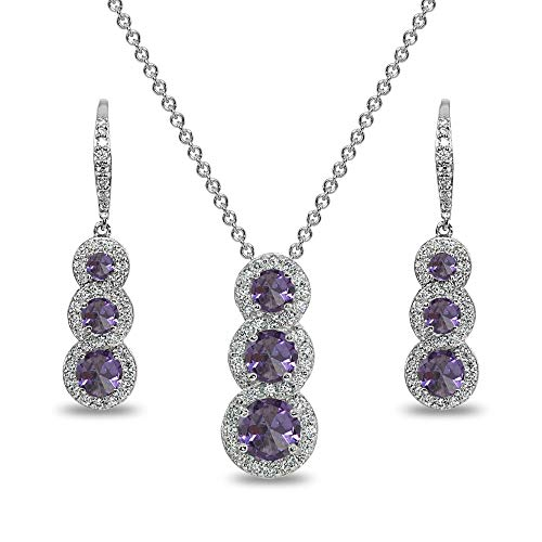 Journey Necklace Set - Sterling Silver Simulated Alexandrite Journey Halo 3-Stone Pendant Necklace & Leverback Earrings Set for Women