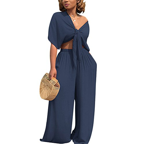 Womens Two Piece Outfits Front Tie Crop Top and Loose Wide Leg Bell Bottom Palazzo Pants Set Jumpsuit Blue XL ()