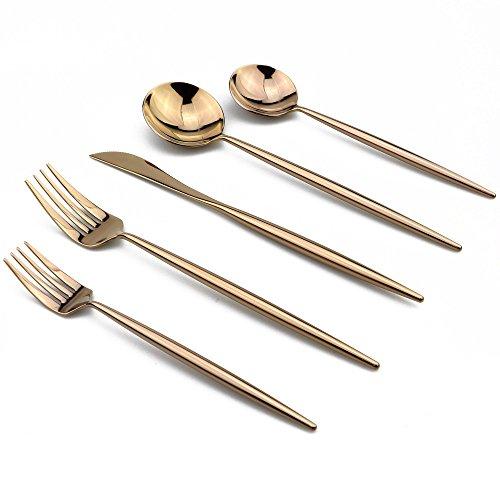 Fish Server Rose (JANKNG 20-Piece Flatware Set, 18/10 Stainless Steel Dishwasher Safe, Mirror Polishing Rose Gold)