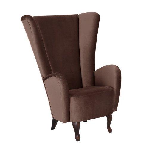 Sessel Aurora, samtiger Veloursstoff in der Farbe braun