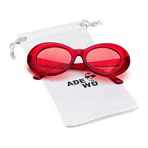 para Gafas Oval 2018 Cobain Clout 1 con ADEWU Glitter sol Retro Rojo mujeres de Kurt Hombre Goggles lentes wCR5nOqx
