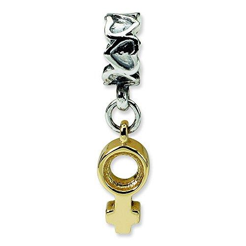 Argent Sterling réflexions femelle 14 carats avec perle-JewelryWeb