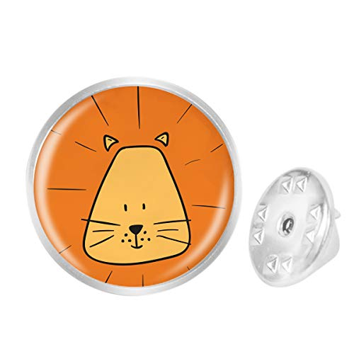 Custom Lapel Pin Brooches Cartoon Orange Lion Banquet Badge Pins Trendy Accessory Jacket T-Shirt Bag Hat - Silver Sterling Lapel Lion Pins