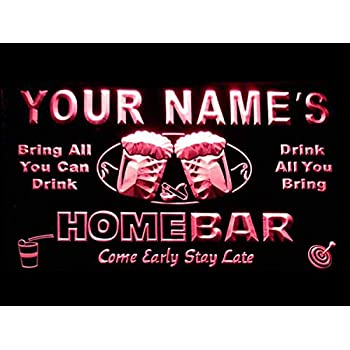 Amazon.com: Letrero luminoso Custom Home Bar Beer de ...