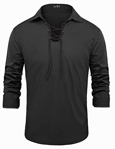 Men's Traditional Kilt Cream Shirt V-Neck Long Sleeve Size L Black -