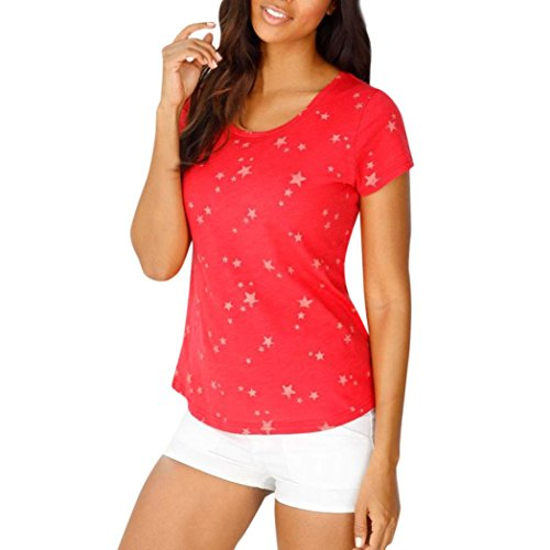 CUCUHAM Fashion Women Summer Loose Short Sleeve Star Printed Casual T-Shirt Blouse Tops (L, Red)