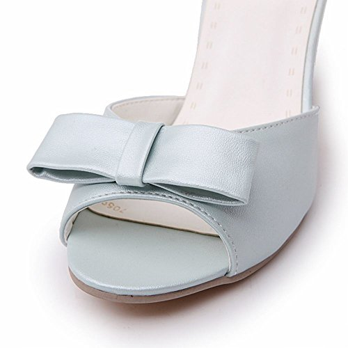 Heel Toe Cute Peep Carol Shoes Women's Sandals High Charm Blue Bows Fqxg1wT