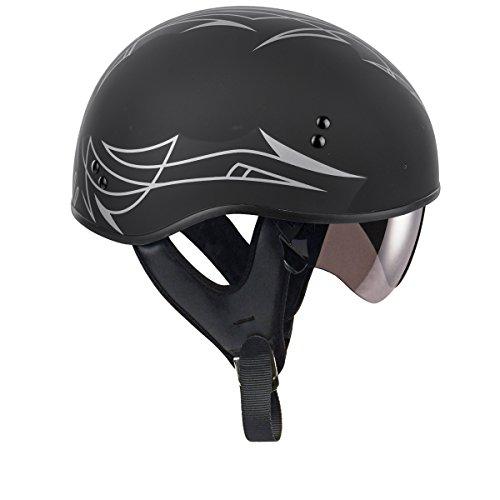 GMAX unisex-adult full-face-helmet-style Helmet (Gm65 Pin Naked Half) (Flat Black/Dark Silver, (Helmet Style Pin)