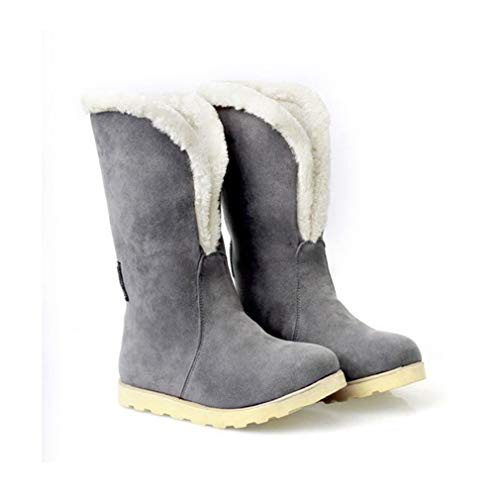 JOYBI Womens Winter Snow Boots Faux Suede Slip On Fur Lined Warm Fashion Casual Round Toe Mid Calf Boots