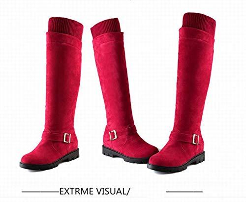 Opaco stivali Lunghi Rosso 43 Tacco 34 Basso Da Piatti Caldi Stivali A Invernali Stivaletti Xe Donna stivali xq8Ag7