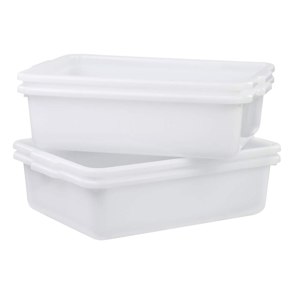 AnnkkyUS 4-Pack 13 Liter Commercial Bus Tubs, White Plastic Wash Basin Bus Tote
