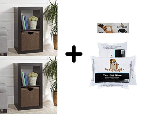 Better Homes and Gardens 2 Cube Storage Organizer, Espresso (2 Packs) with 2 Exclusive Pillows and 1 Sleeping Mask from Better Homes & Gardens