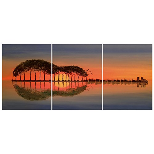 GEVES Guitar Abstract Sunset Landscape Wall Art Painting Giclee Canvas Prints Posters Graceful Pictures for Living Room Home Decoration Ready to Hang (A)