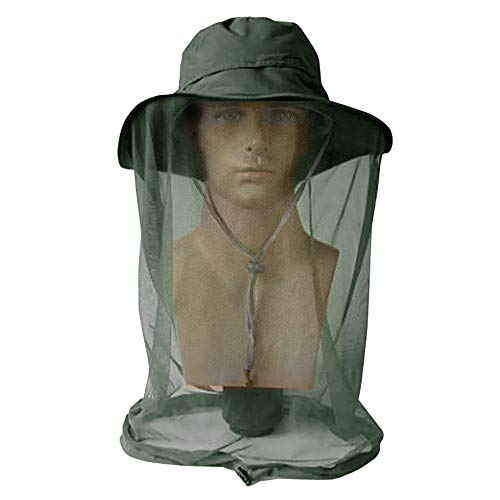 AYAMAYA Mosquito Bug Net Hat, Men/Women Wide Brim Safari Fishing Summer Sun Protection Hat with Face Neck Mask Head Cover Netting from Insect Bug Bee Gnats Bucket Hat ()