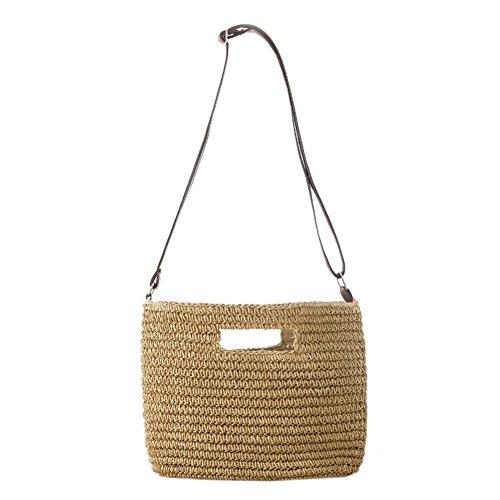 sac d'été de sac femmes de des simple bandoulière à à de paille bandoulière Gaeruite pour main tissé sac de par plage de café Beige sac fille léger fait de sac Sac 1x0q8