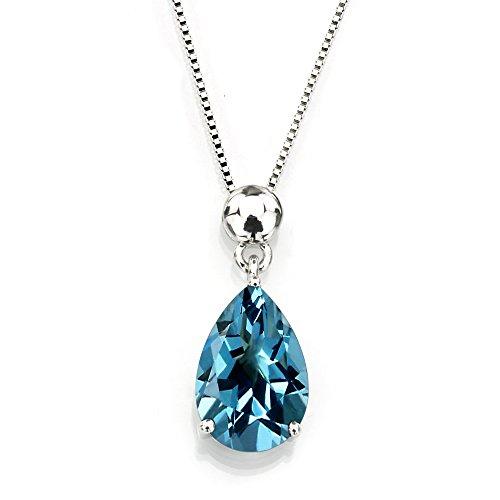 - Sterling Silver 925 Pear Shape Blue Topaz Pendant Necklace, 18