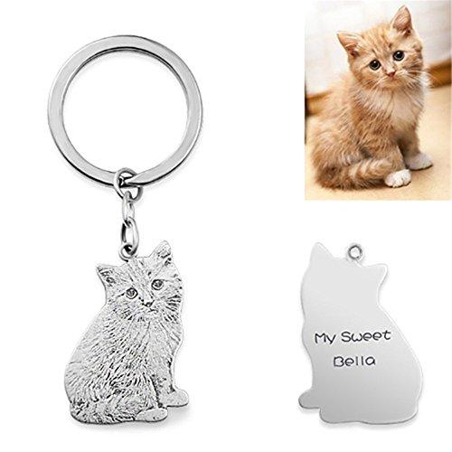 Cat Sterling Silver Key Ring - Illango Handmade Dog Cat Photo Silhouette Keychain Custom Engraved Pet Key Ring for Women Men Best Memorial Gift - Silver