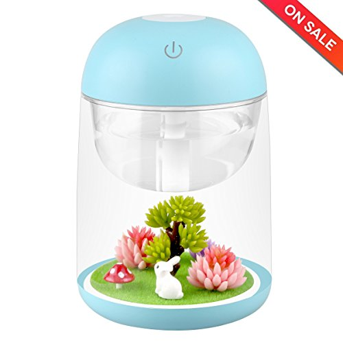 LoneyShow Micro Landscape humidifier Essential Oil Diffuser 180ml Aroma Essential Oil Cool Mist Humidifier with Adjustable Mist Mode, Waterless Auto Shut-off (Blue) …